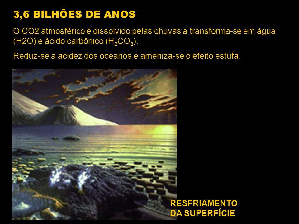 3,6 BILHÕES DE ANOS O CO2 atmosférico é dissolvido pelas chuvas a transforma-se em água (H2O) e ácido carbônico (H2CO3).