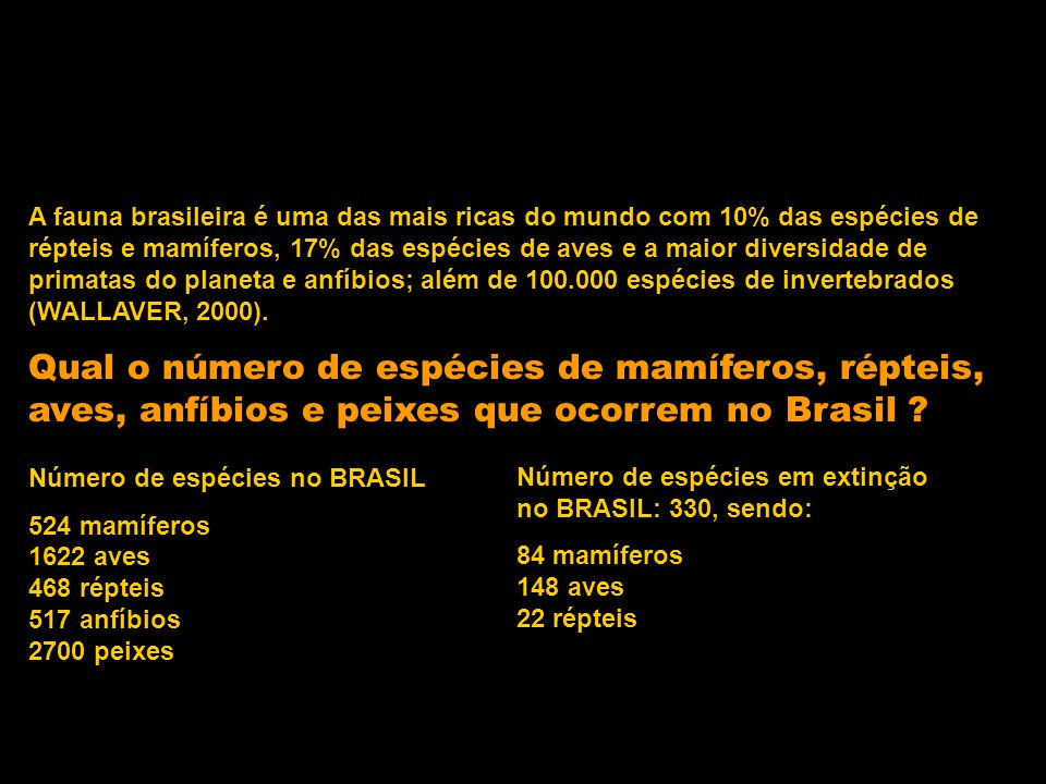 A fauna brasileira é uma das mais ricas do mundo com 10% das espécies de répteis e mamíferos, 17% das espécies de aves e a maior diversidade de primatas do planeta e anfíbios; além de 100.000 espécies de invertebrados (WALLAVER, 2000).