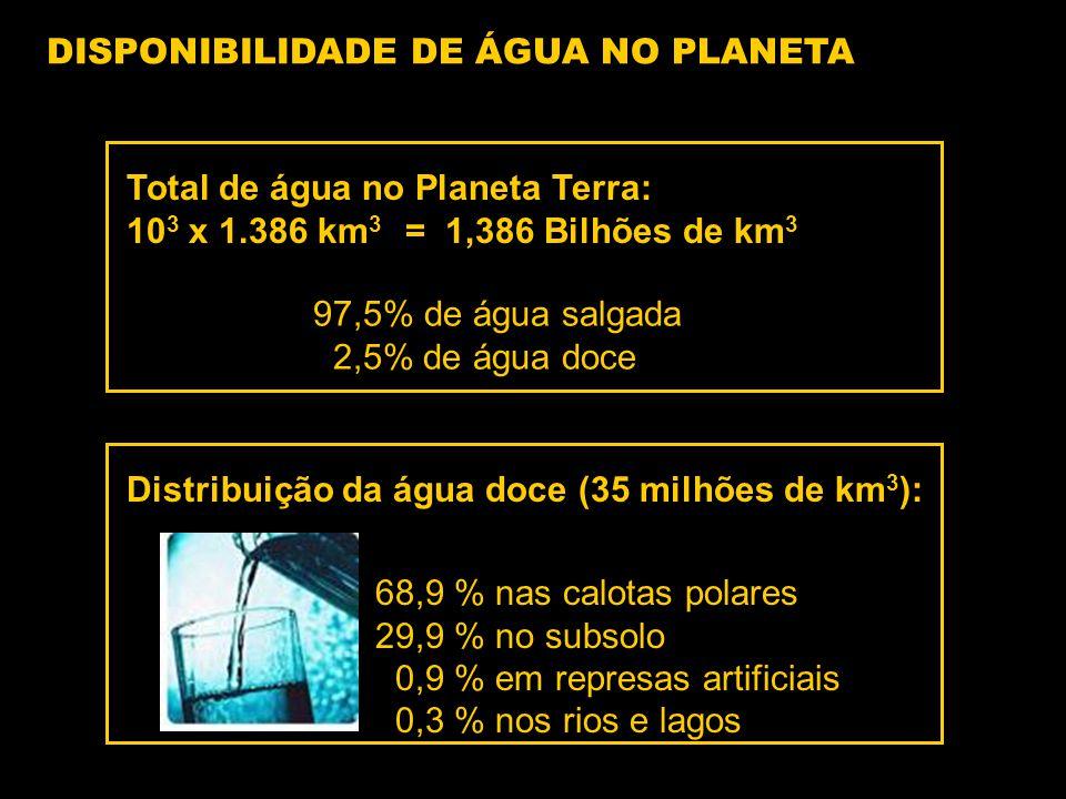 DISPONIBILIDADE DE ÁGUA NO PLANETA