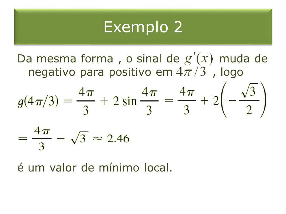 Exemplo 2 Da mesma forma , o sinal de muda de negativo para positivo em , logo é um valor de mínimo local.