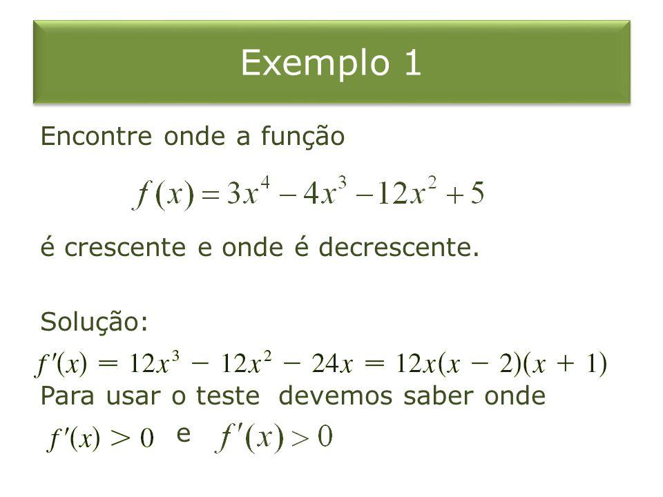 Exemplo 1 Encontre onde a função é crescente e onde é decrescente.