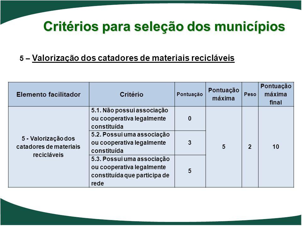 Critérios para seleção dos municípios