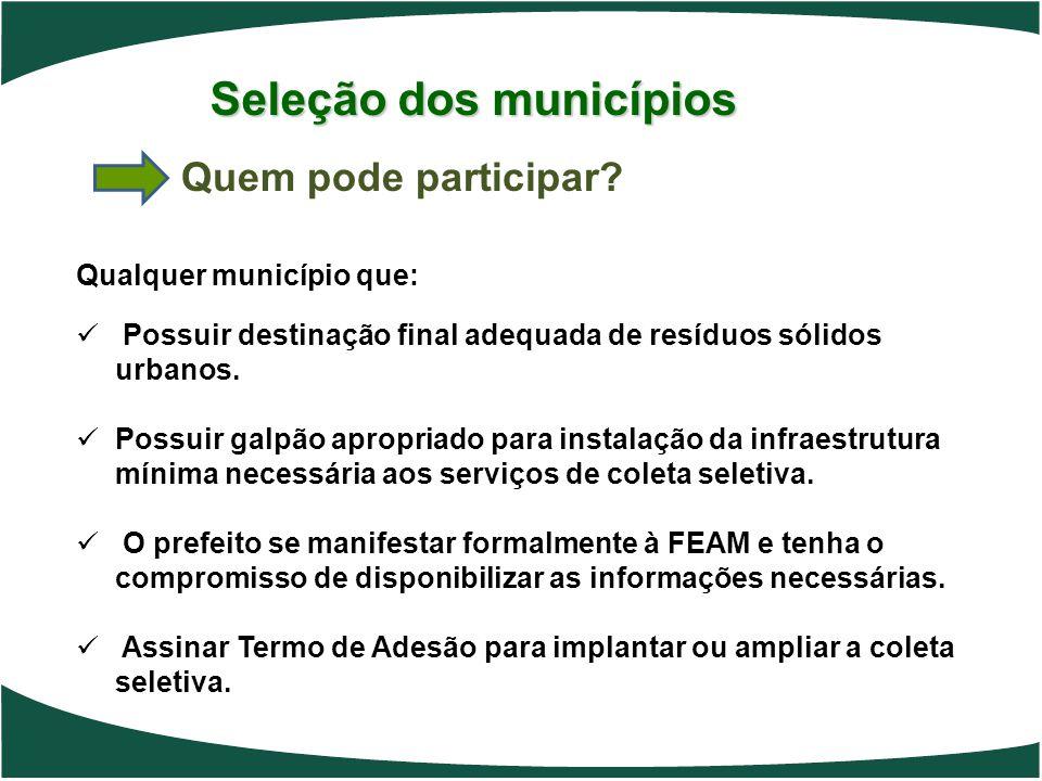 Seleção dos municípios