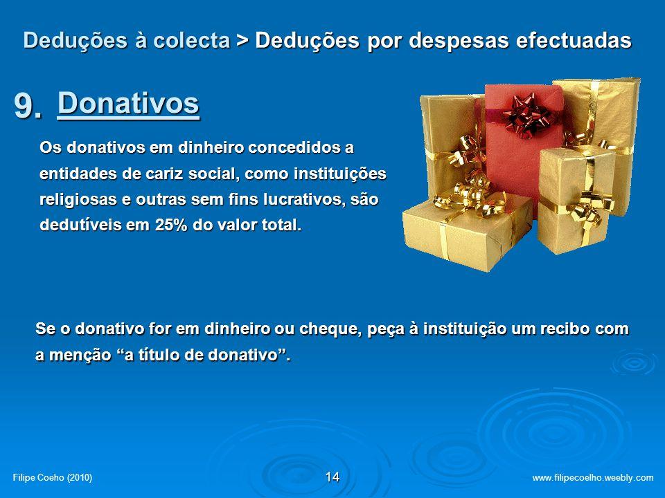 Deduções à colecta > Deduções por despesas efectuadas