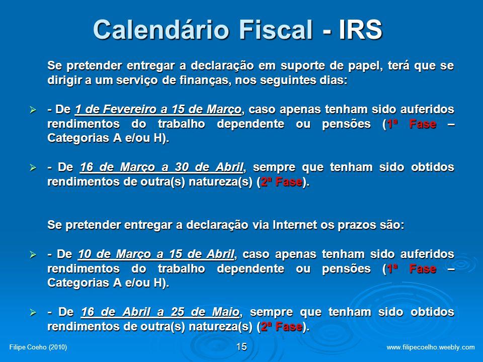 Calendário Fiscal - IRS