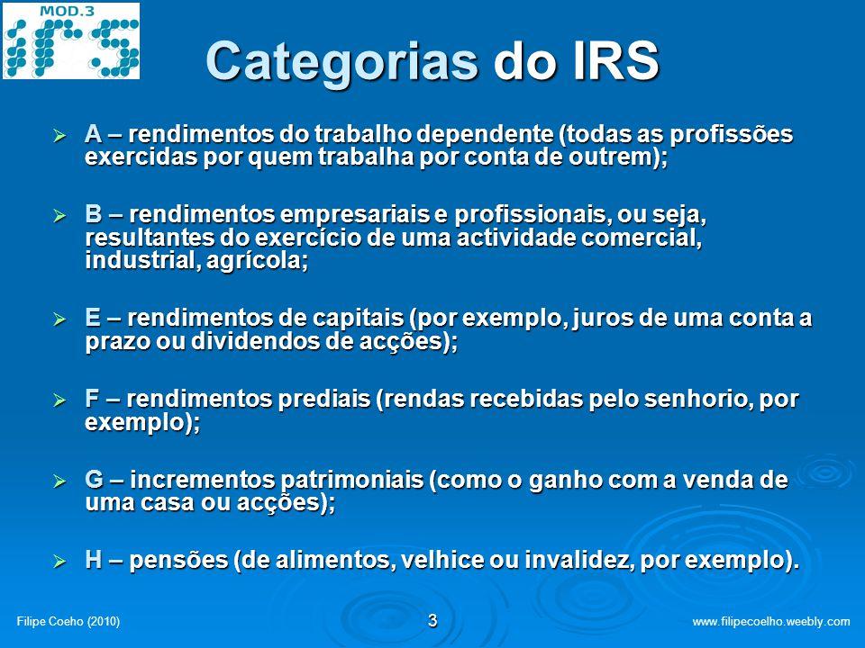Categorias do IRS A – rendimentos do trabalho dependente (todas as profissões exercidas por quem trabalha por conta de outrem);