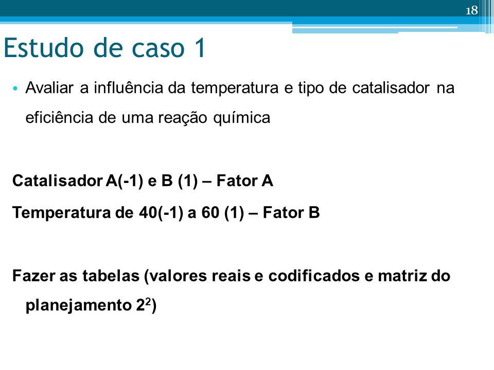 Estudo de caso 1 Avaliar a influência da temperatura e tipo de catalisador na eficiência de uma reação química.