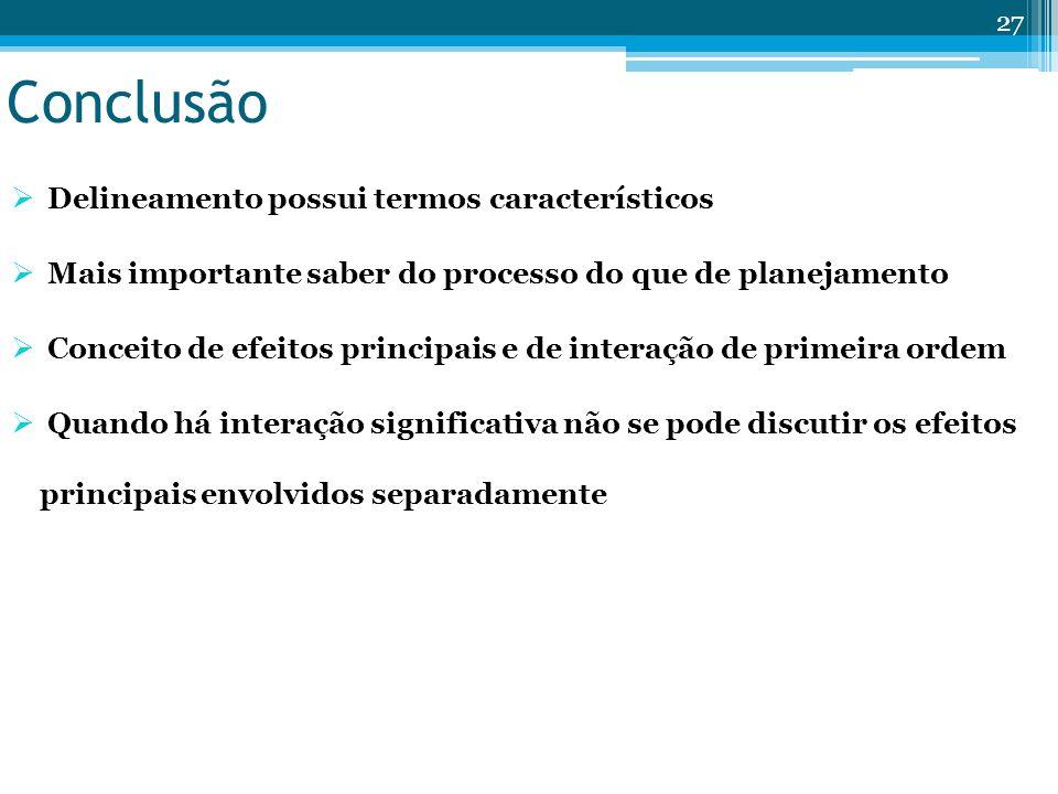 Conclusão Delineamento possui termos característicos