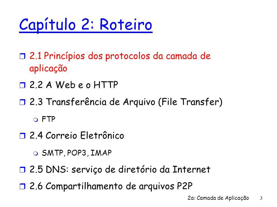 Capítulo 2: Roteiro 2.1 Princípios dos protocolos da camada de aplicação. 2.2 A Web e o HTTP. 2.3 Transferência de Arquivo (File Transfer)