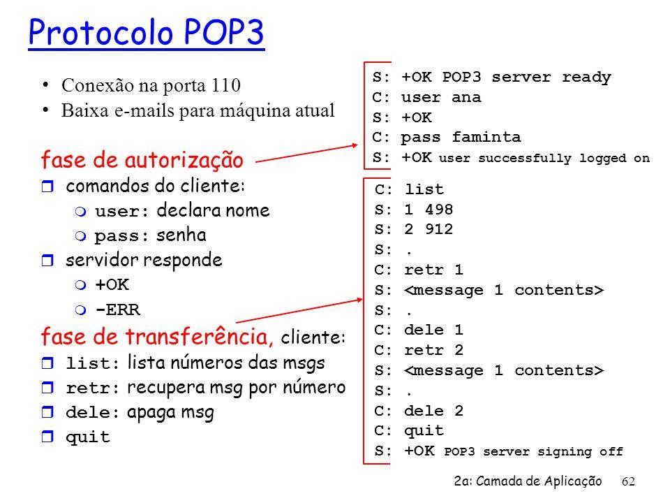 Protocolo POP3 fase de autorização C: list