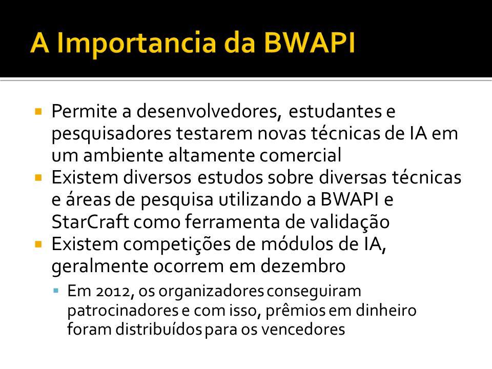 A Importancia da BWAPI Permite a desenvolvedores, estudantes e pesquisadores testarem novas técnicas de IA em um ambiente altamente comercial.