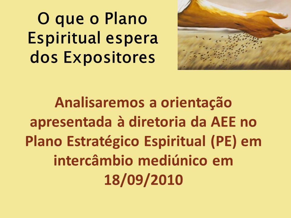 O que o Plano Espiritual espera dos Expositores