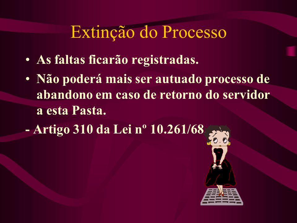 Extinção do Processo As faltas ficarão registradas.