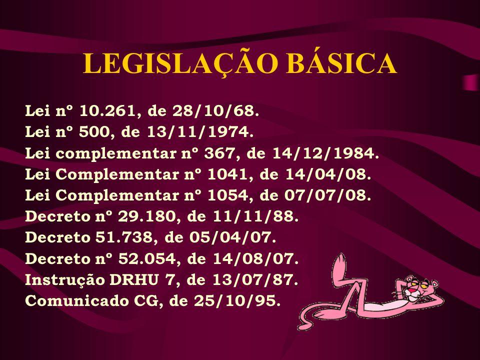 LEGISLAÇÃO BÁSICA Lei nº 10.261, de 28/10/68.