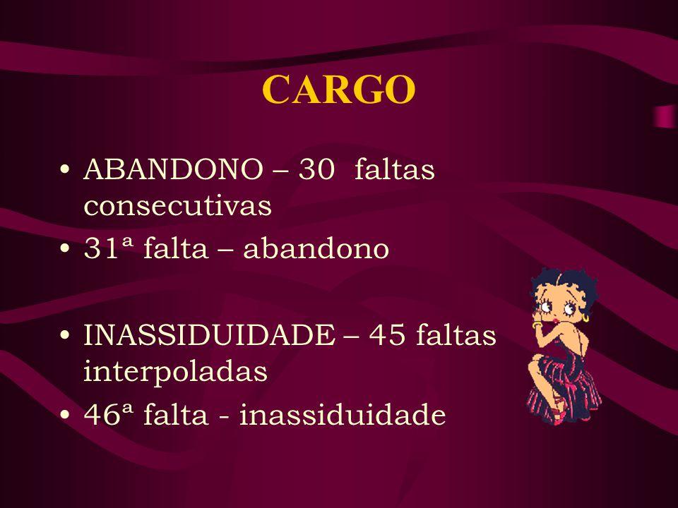 CARGO ABANDONO – 30 faltas consecutivas 31ª falta – abandono