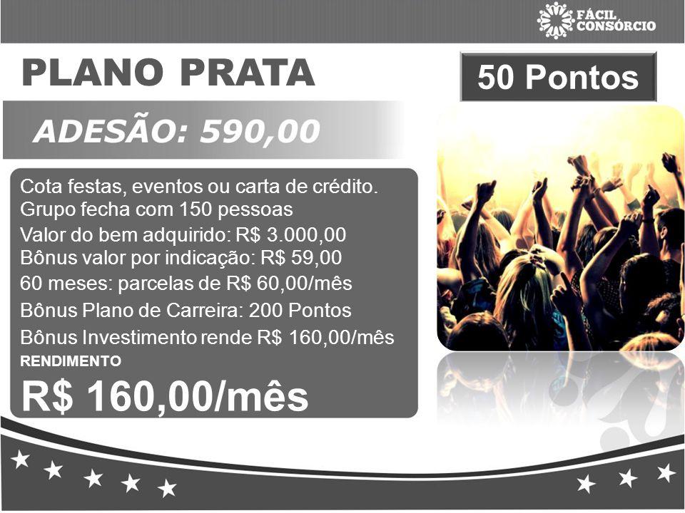 PLANO PRATA 50 Pontos Cota festas, eventos ou carta de crédito.