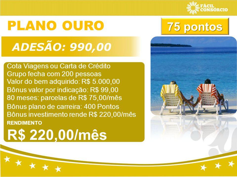 PLANO OURO 75 pontos Cota Viagens ou Carta de Crédito
