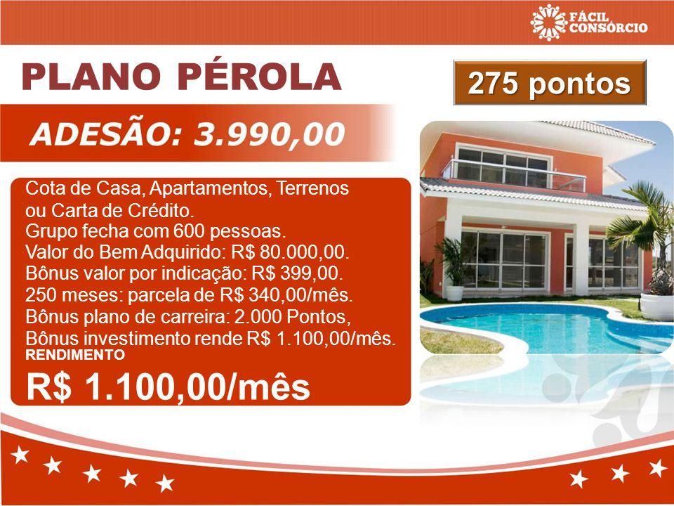 PLANO PÉROLA 275 pontos Cota de Casa, Apartamentos, Terrenos