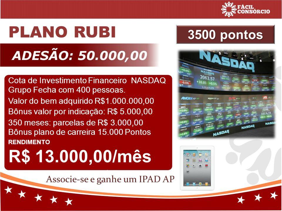 PLANO RUBI 3500 pontos Associe-se e ganhe um IPAD APPLE