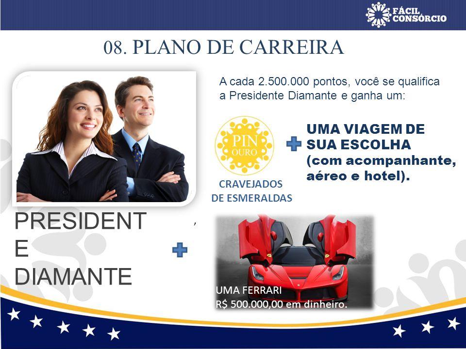 PRESIDENTE DIAMANTE 08. PLANO DE CARREIRA UMA VIAGEM DE SUA ESCOLHA