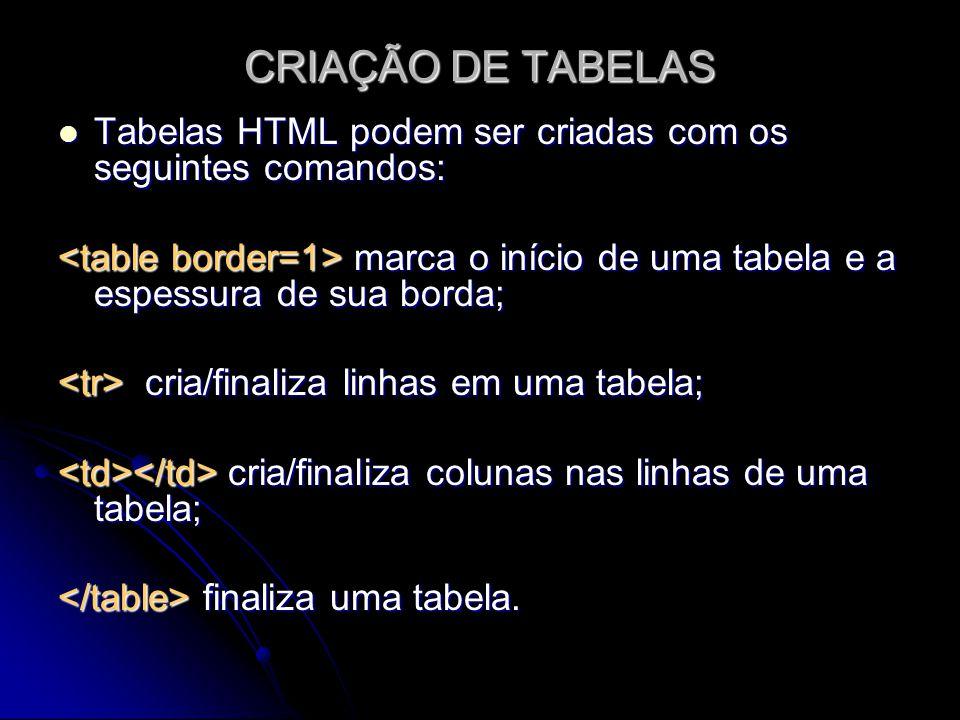 CRIAÇÃO DE TABELAS Tabelas HTML podem ser criadas com os seguintes comandos: