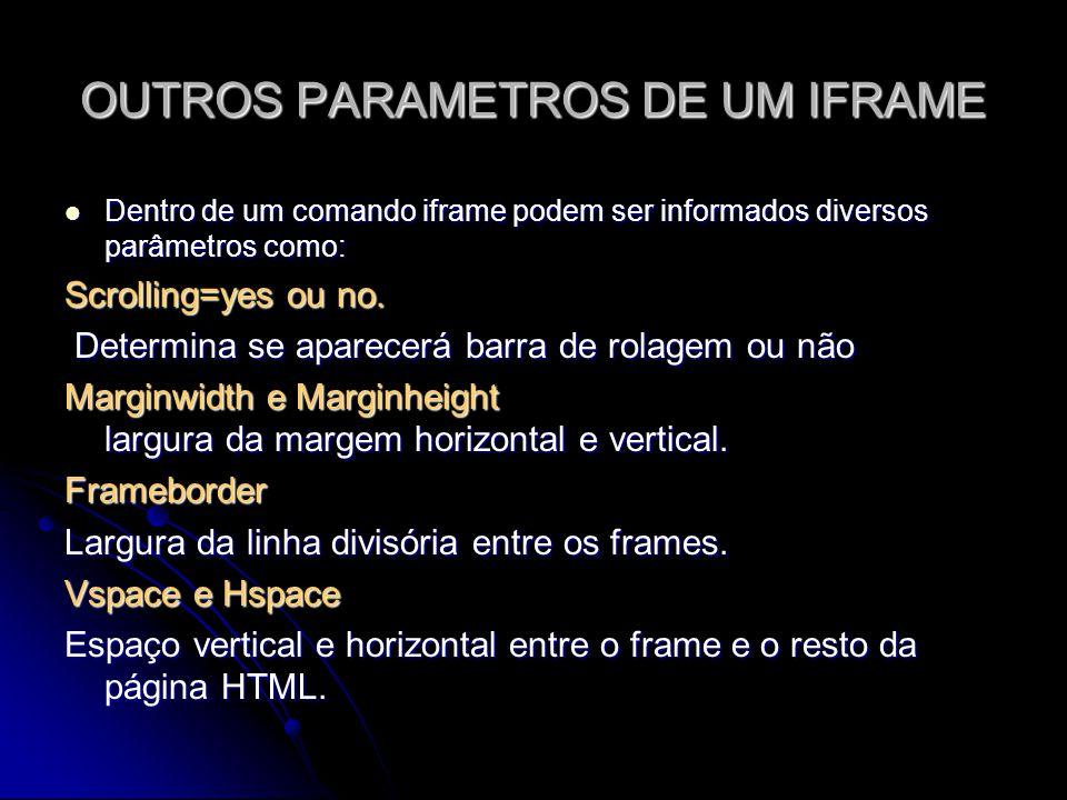 OUTROS PARAMETROS DE UM IFRAME