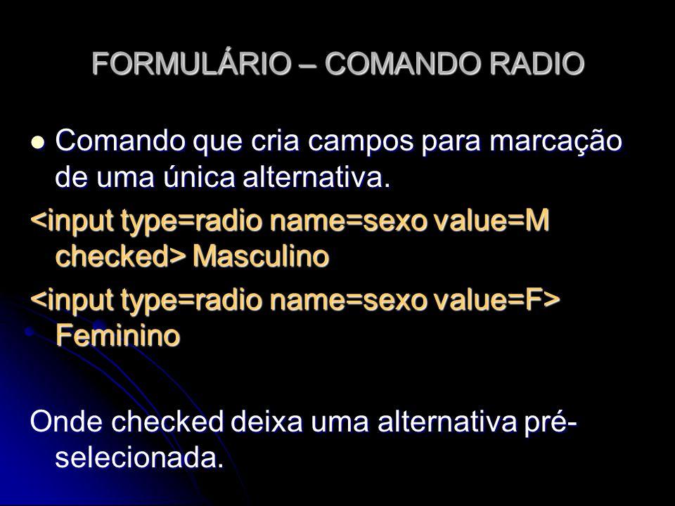 FORMULÁRIO – COMANDO RADIO