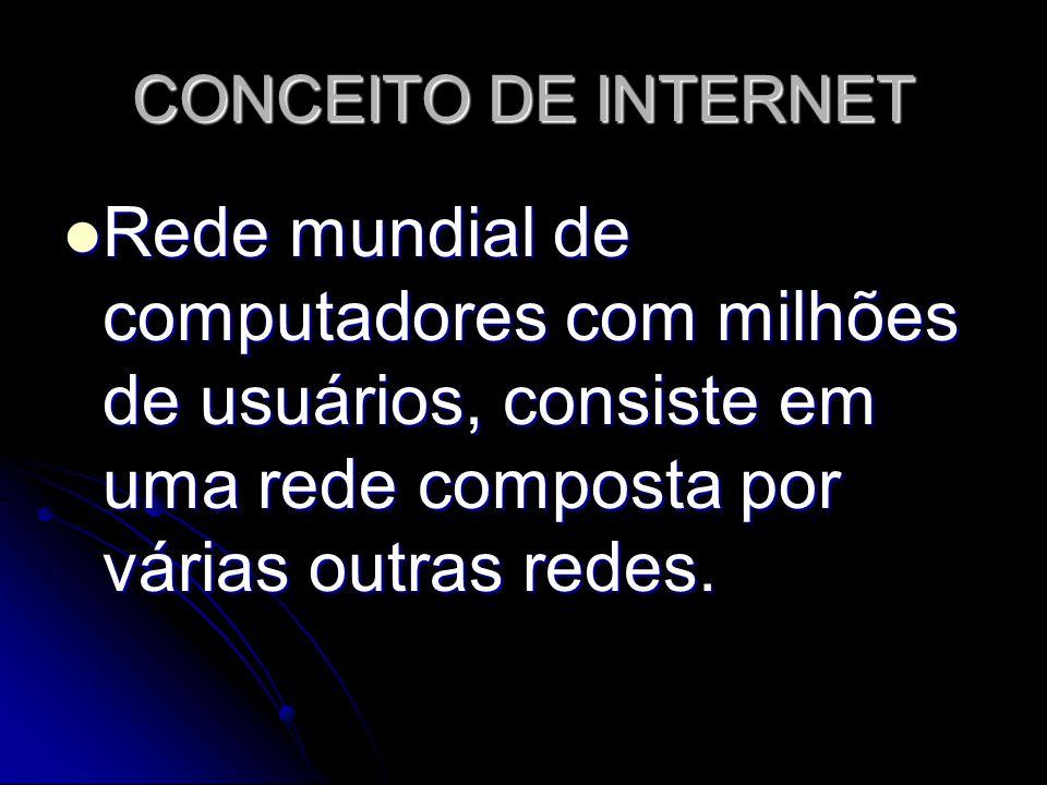 CONCEITO DE INTERNET Rede mundial de computadores com milhões de usuários, consiste em uma rede composta por várias outras redes.