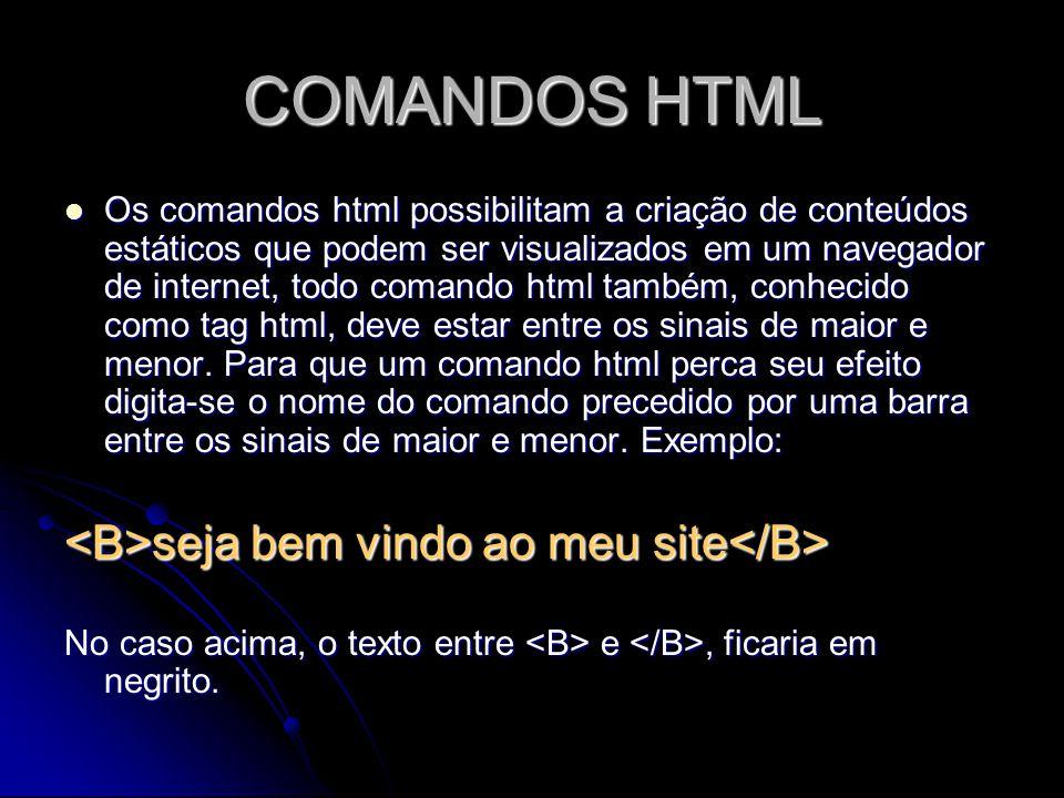 COMANDOS HTML <B>seja bem vindo ao meu site</B>