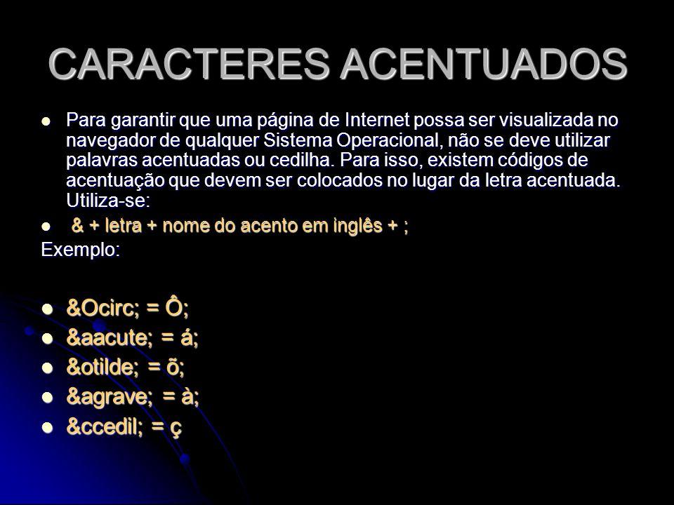CARACTERES ACENTUADOS