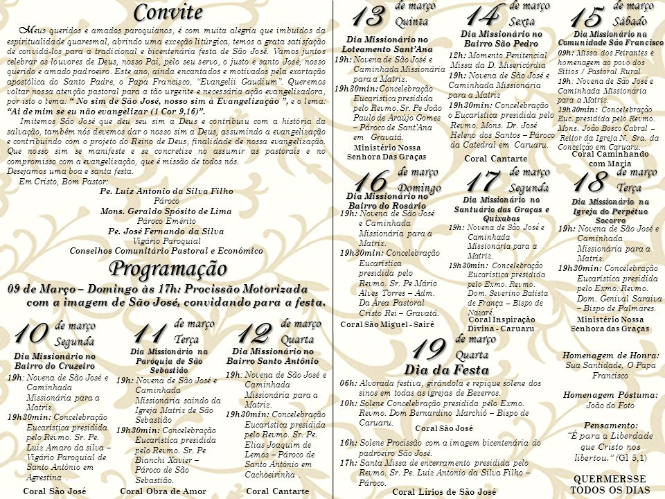 13 14 15 16 17 18 10 11 12 19 Convite Programação de março Quinta