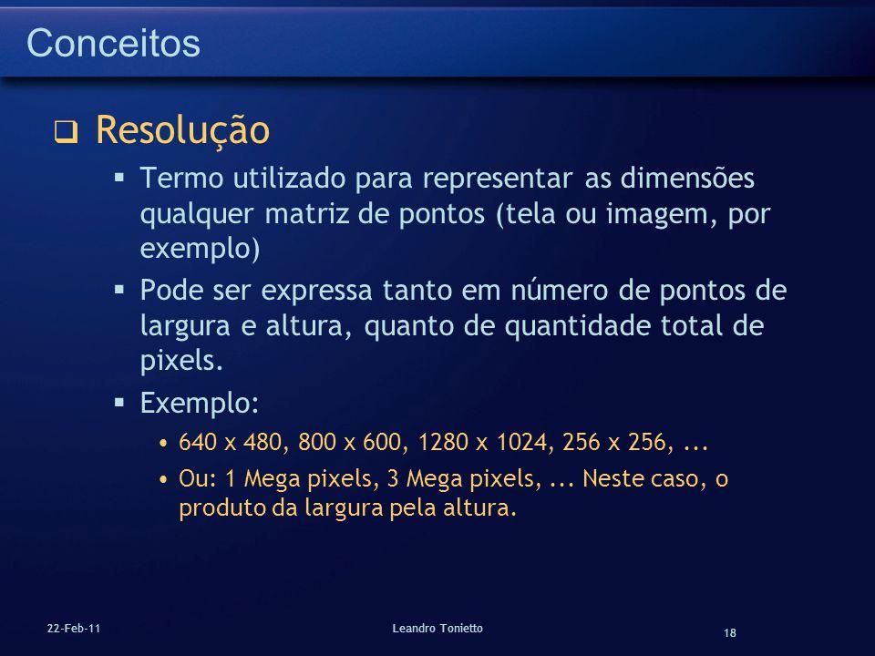 Conceitos Resolução. Termo utilizado para representar as dimensões qualquer matriz de pontos (tela ou imagem, por exemplo)