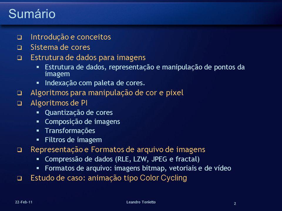 Sumário Introdução e conceitos Sistema de cores