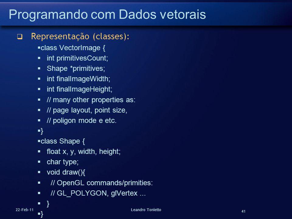 Programando com Dados vetorais