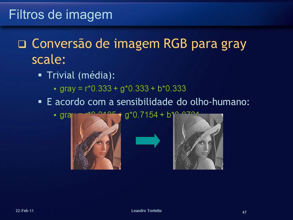Conversão de imagem RGB para gray scale: