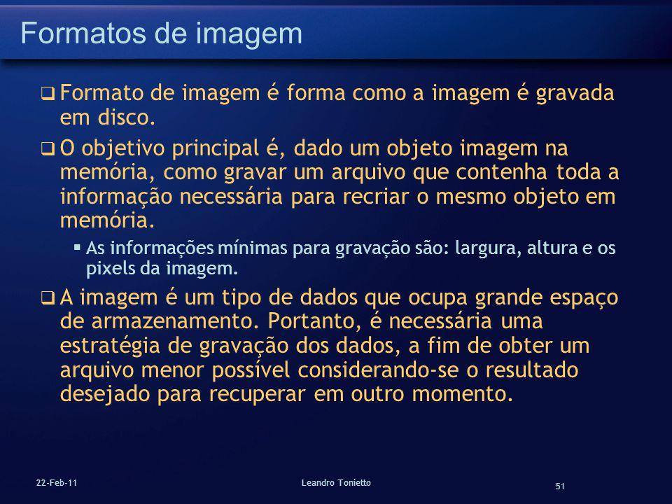 Formatos de imagem Formato de imagem é forma como a imagem é gravada em disco.