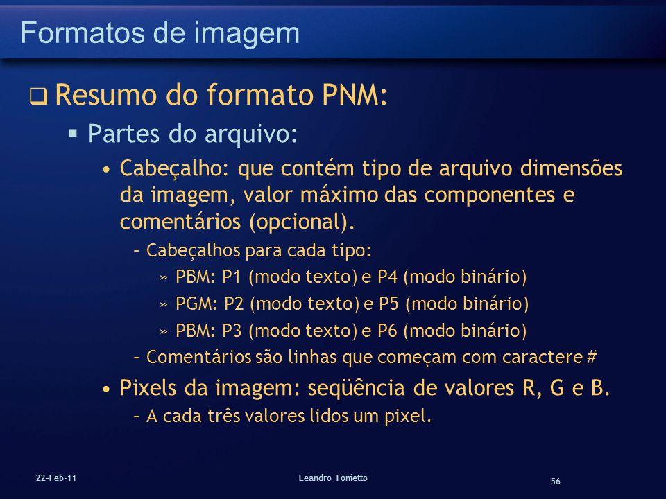 Formatos de imagem Resumo do formato PNM: Partes do arquivo: