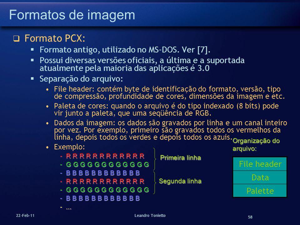 Formatos de imagem Formato PCX: