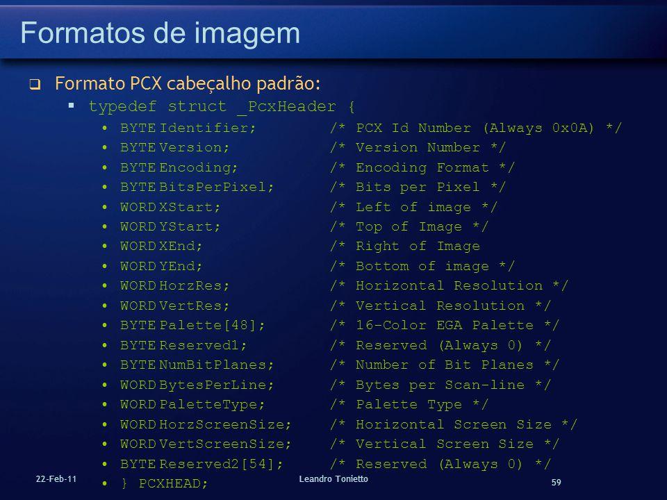 Formatos de imagem Formato PCX cabeçalho padrão: