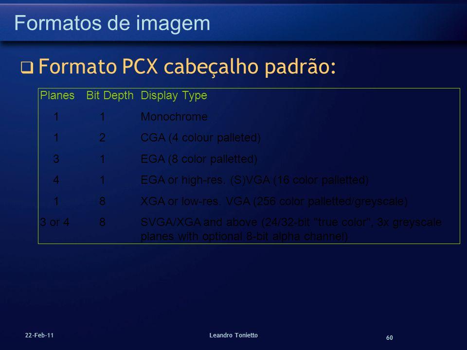 Formato PCX cabeçalho padrão: