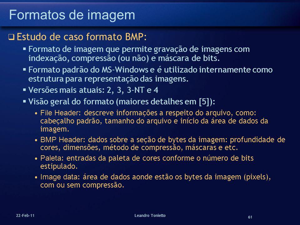 Formatos de imagem Estudo de caso formato BMP: