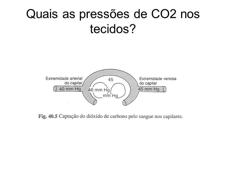 Quais as pressões de CO2 nos tecidos