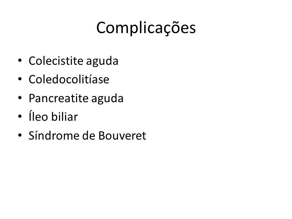 Complicações Colecistite aguda Coledocolitíase Pancreatite aguda