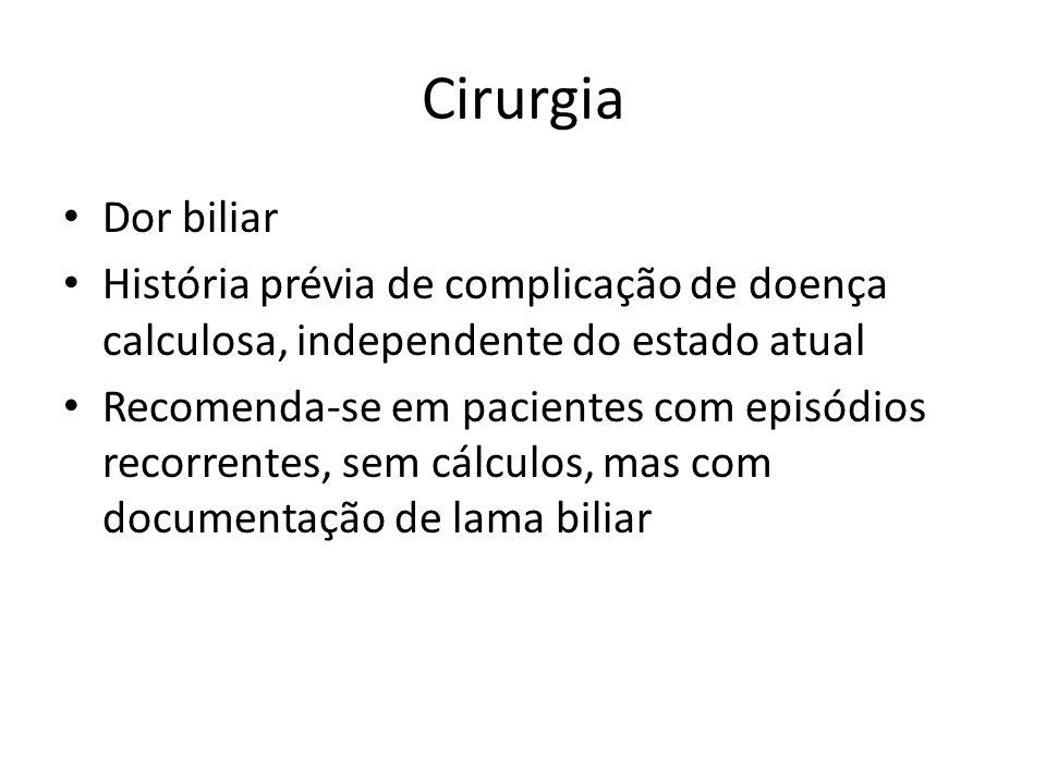 Cirurgia Dor biliar. História prévia de complicação de doença calculosa, independente do estado atual.