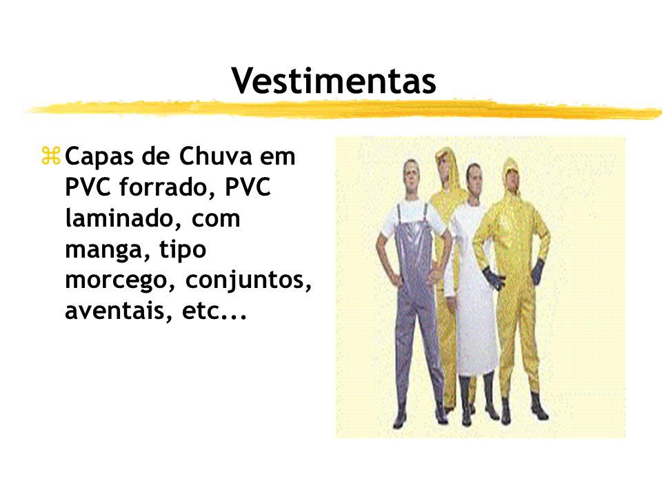 Vestimentas Capas de Chuva em PVC forrado, PVC laminado, com manga, tipo morcego, conjuntos, aventais, etc...