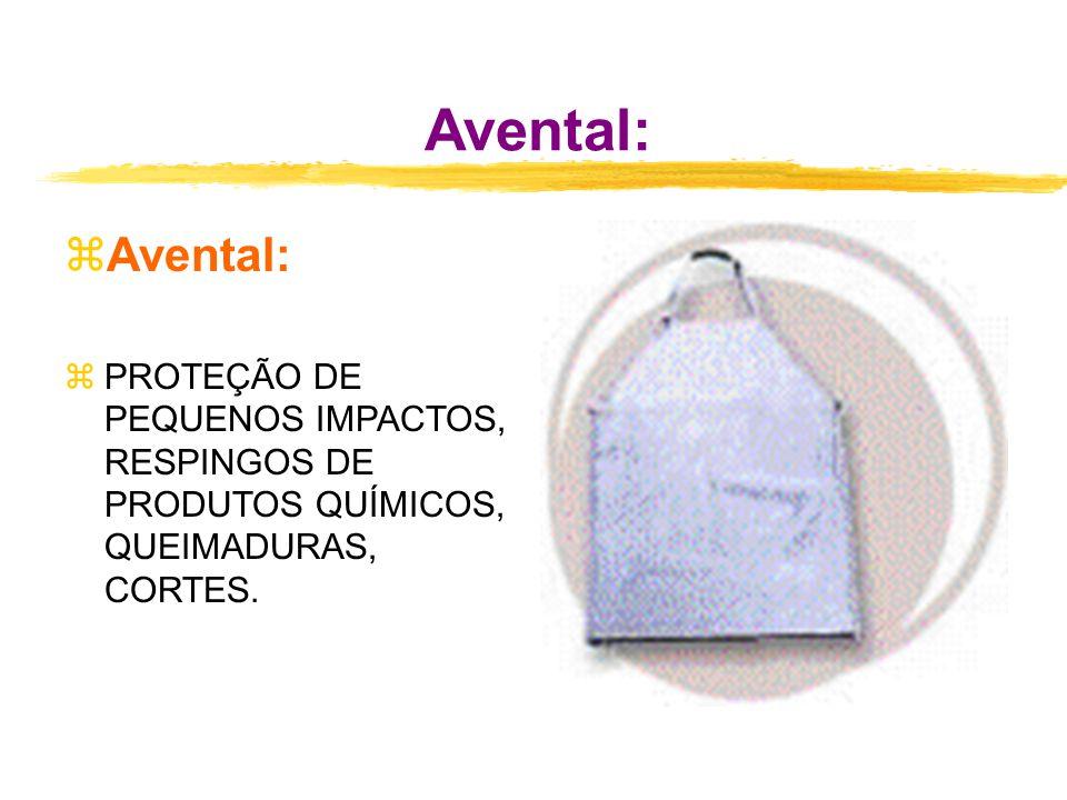 Avental: Avental: PROTEÇÃO DE PEQUENOS IMPACTOS, RESPINGOS DE PRODUTOS QUÍMICOS, QUEIMADURAS, CORTES.