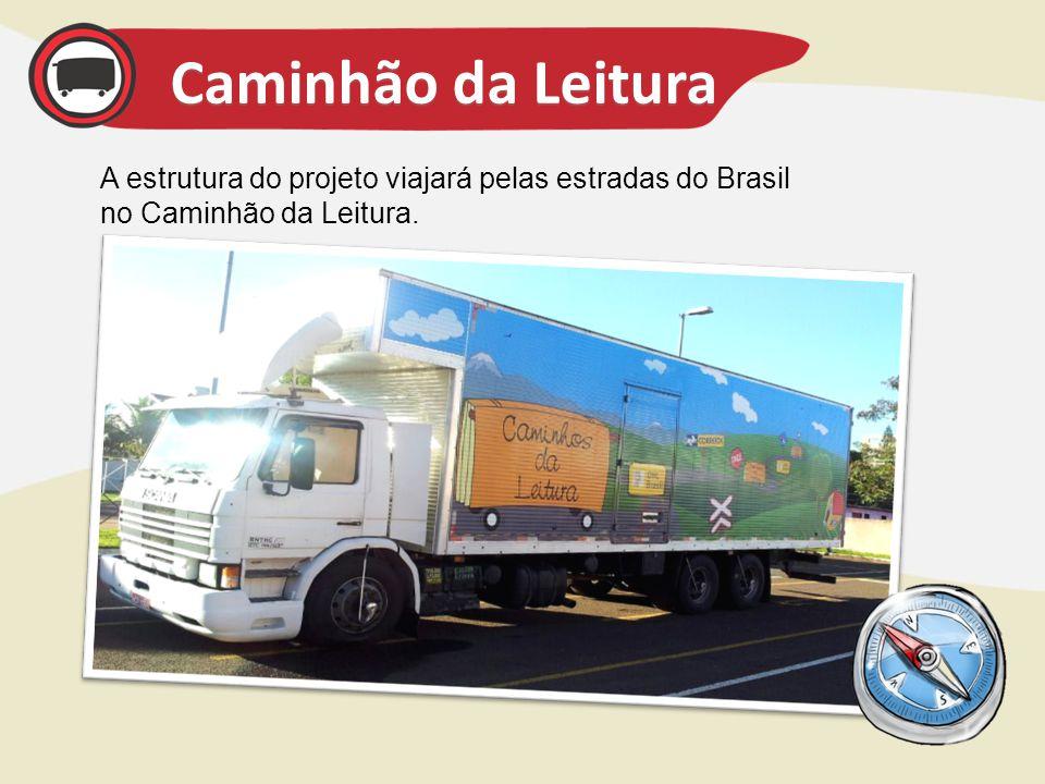 Caminhão da Leitura A estrutura do projeto viajará pelas estradas do Brasil no Caminhão da Leitura.