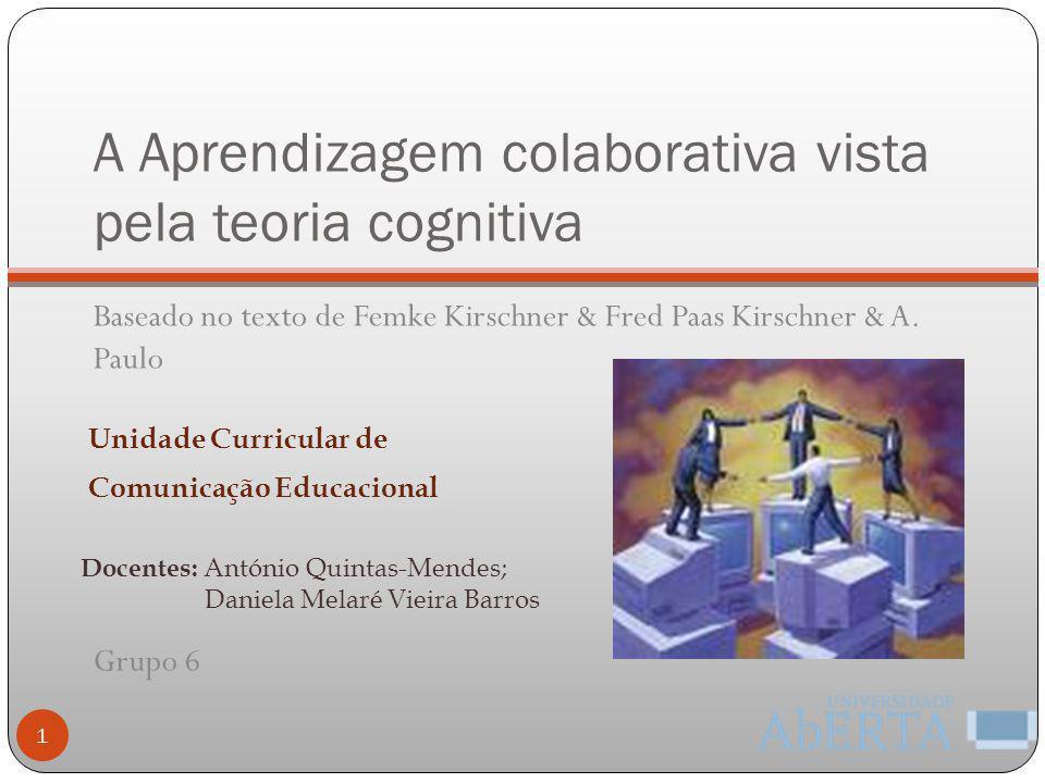 A Aprendizagem colaborativa vista pela teoria cognitiva