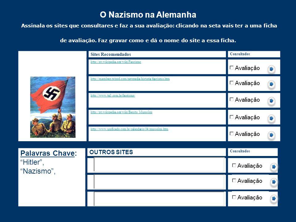 O Nazismo na Alemanha Assinala os sites que consultares e faz a sua avaliação: clicando na seta vais ter a uma ficha de avaliação. Faz gravar como e dá o nome do site a essa ficha.