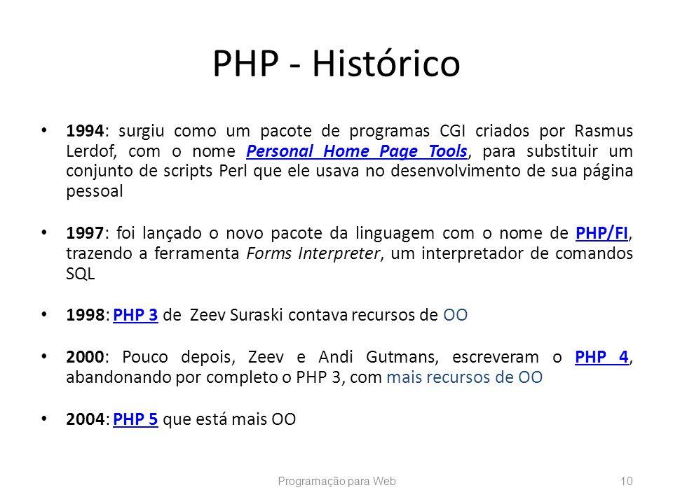PHP - Histórico